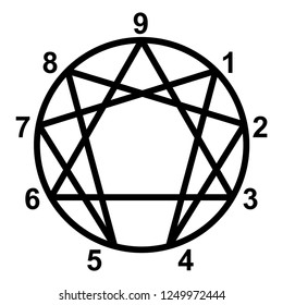 Enneagram icon, vector illustration
