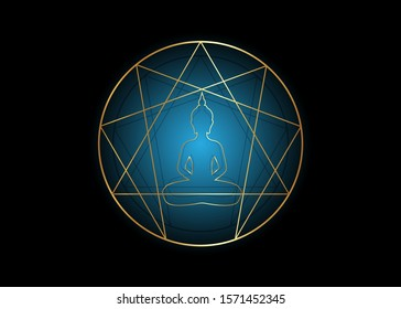 Enneagram yoga flat icon design for infographics and business. Gold Enneagram icon, sacred geometry, with a meditating buddha silhouette in the middle, vector illustration isolated on black background