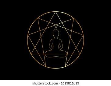 Enneagram yoga logo design for infographics and business. Gold Enneagram icon, sacred geometry, with a meditating buddha silhouette in the middle, vector illustration isolated on black background