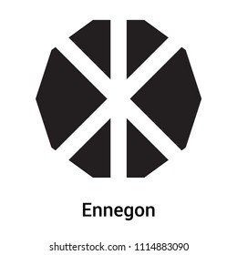 Ennegon icon vector isolated on white background for your web and mobile app design, Ennegon logo concept, outline symbol, linear sign