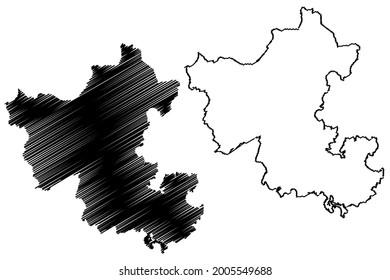 Ennepe-Ruhr-Kreis district (Federal Republic of Germany, State of North Rhine-Westphalia, NRW, Arnsberg region) map vector illustration, scribble sketch Ennepe Ruhr Kreis map