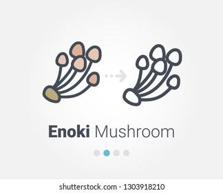 Enoki Mushroom vector icon