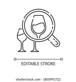 Enotourism pixel perfect linear icon. Wine tasting tours, winemaking thin line customizable illustration. Contour symbol. Alcohol drinks degustation. Vector isolated outline drawing. Editable stroke