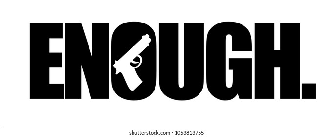 Enough with a gun forming the center of the letter O. EPS10 vector illustration.