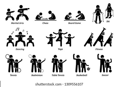 Enrichment programs for children. Illustrations depict sports and games for kids to learn and play.