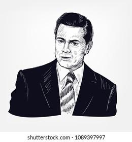 Enrique Pena Nieto vector portrait sketch