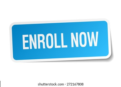 enroll now blue square sticker isolated on white
