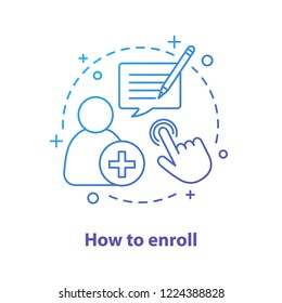 Enroll now concept icon. Enrollment. New user registration idea thin line illustration. Sign up. Vector isolated outline drawing