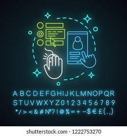 Enroll now neon light concept icon. Online registration. Enrollment idea. Feedback and reviews. Glowing sign with alphabet, numbers and symbols. Vector isolated illustration