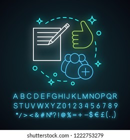 Enroll now neon light concept icon. Registration. Enrollment idea. Feedback and reviews. Glowing sign with alphabet, numbers and symbols. Vector isolated illustration