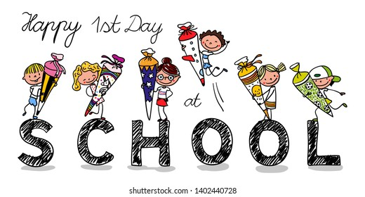 Enrolment - First Day of school - First graders with school cones are excited - colorful- hand drawn- Text: Happy first day at school