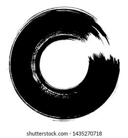 Enso Brush Stroke Zen Symbol. Hand Paint Artistic Circle. Vector Design. Original Logo, Emblem Element. Enso Zen Symbol. Black Round Shape. Ink Brush Painting. Chinese, Japanese Style