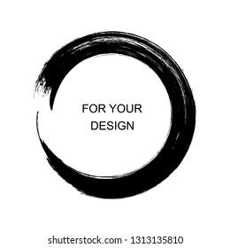Enso calligraphy element japanese or chinese style Zen Circle Brush. Round frame. Vector Illustration