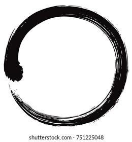 Enso Japanese Zen Circle Brush Vector Illustration Ink Vector