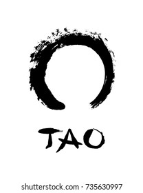 "Enso open circle and lettering ""Tao"". Buddhist symbol for the never ending journey to be whole. Handmade vector ink painting."
