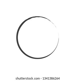 Enso symbol. Chinese circle. Vector. Black Ink enso symbol. Logo, emblem design. Round shape. Brush circle element. Stroke round shape. Watercolor abstract background.