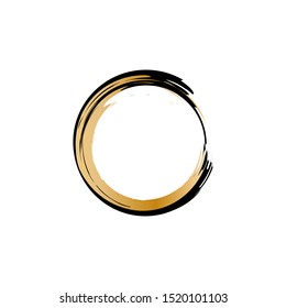 Enso Symbol Vector Design. Black and Gold Brush Stroke Circle Element. Japanese Enso Sign. Shine Golden and Black Meditative Symbol. Original Logo Design Element