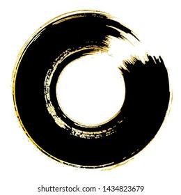 Enso Symbol Vector Design. Brush Stroke Circle. Black and Gold Round Brush Paint Circle. Original Logo, Emblem Design. Zen Enso Meditative Sign. Abstract Background. Chinese, Japanese Style Image