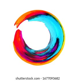 Enso symbol vector design. Grunge Circle. Rainbow colors round frame. Blue, red, green oil brush strokes in round shape. Chinese enso symbol. Colorful ink grunge element. Watercolor original circle