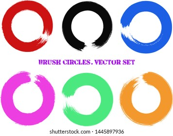 Enso symbol vector set. Red, black, blue, pink, green and orange brush stroke circles collection. Hand paint round shapes. Enso zen image. Brush smears. Hand drawn watercolor circles.