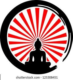 Enso, Zen Circle of Enlightenment, Sun / ENSO ZEN / Meditation, Buddha, Buddhism, Japan, Rays