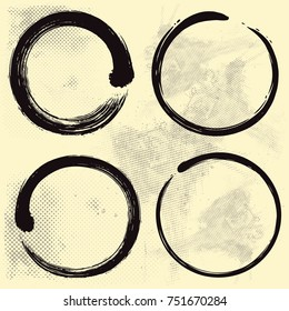 Enso Zen Set on Old Paper Background