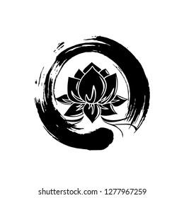 Enso Zen Symbol with Lotus Flower
