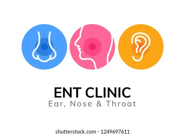 ENT doctor logo template. Ear nose throat doctor clinic. Mouth health otolaryngology illustration.
