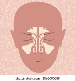 ENT laryngology - sinuses - view from the front- vector illustration