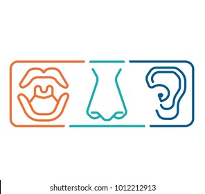 ENT logo template clinic.Otolaryngology Ear, nose, throat doctor specialists. Anatomy, audiologist.logo concept. Line vector icon. Editable stroke. Flat linear illustration isolated on white.