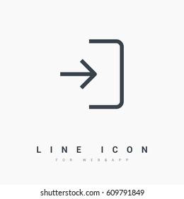 Enter door line vector icon