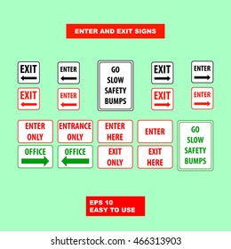 Enter and exit floor signs design illustration for safety first and other warn