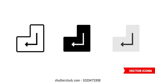 Enter symbol icon of 3 types: color, black and white, outline. Isolated vector sign symbol.