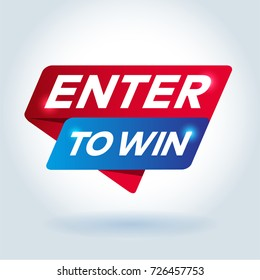 ENTER TO WIN arrow colored tag sign.