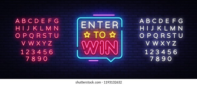 Enter to Win Neon Text Vector. Enter to Win neon sign, design template, modern trend design, night neon signboard, night bright advertising, light banner, light art. Vector. Editing text neon sign