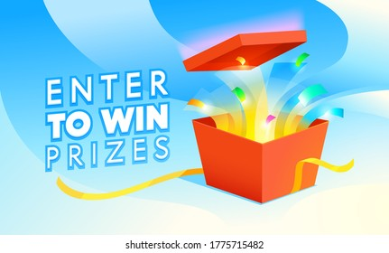 Enter to Win Prizes Banner. Open Red Gift Box with Confetti Fireworks on Blue Background. Raffle, Lottery Promo Poster. Festive Store Promotion, Gambling Casino Games. Cartoon Vector Illustration
