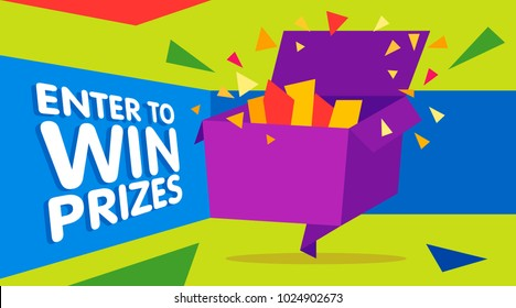 Enter to win prizes gift box. Cartoon origami style vector illustration. Web banner template