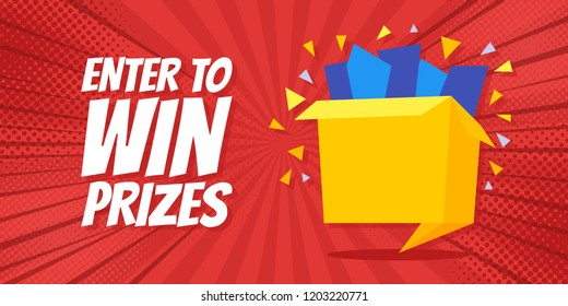 Enter to win prizes gift box. Cartoon origami style vector illustration. Pop Art background