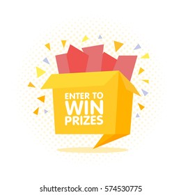 Enter to win prizes gift box. Cartoon origami style vector illustration.