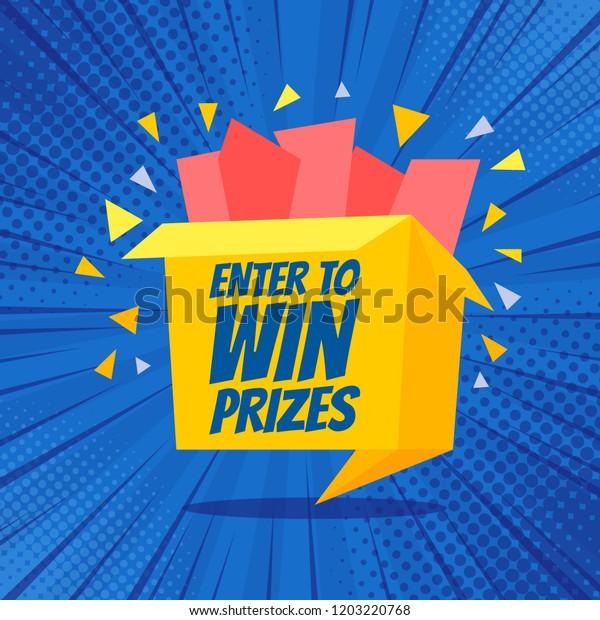 Enter Win Prizes Gift Box Cartoon Stock Vector (Royalty Free) 1203220768