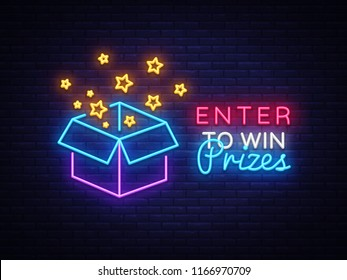 Enter to Win Prizes Neon Sign Vector. Gift neon sign, Win super prize design template, modern trend design, night neon signboard, night bright advertising, light banner, light art. Vector