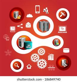 Enterprise applications integration technology symbols and infographics