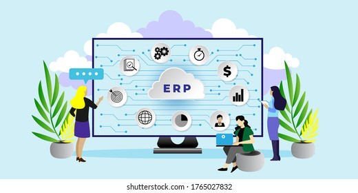Enterprise resource planning ERP as cloud service concept. IT manager analyzing the architecture of ERP (Enterprise Resource Planning). can use for, landing page, template, ui, web.