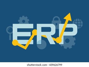 Enterprise resource planning flat lettering. Vector set of ERP items. Vector background.