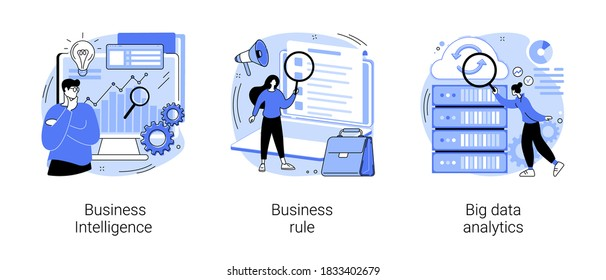 Enterprise strategy development abstract concept vector illustration set. Business Intelligence and business rule, big data analytics, application software, data management abstract metaphor.