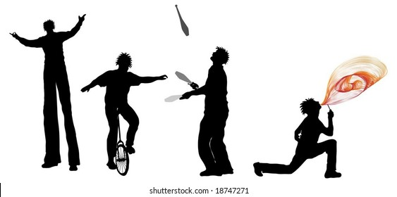 Entertainer Silhouettes (juggler, Unicyclist, fire breather and stilt walker)