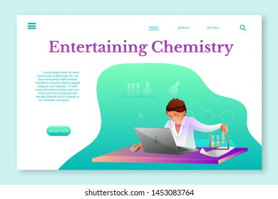Entertaining Chemistry landing page layout. Chemist making experiment flat character. Biochemist, chemist experimenting vector illustration. Scientific, medical laboratory, lab testing.