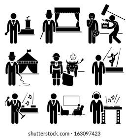 Entertainment Artist Jobs Occupations Careers - Emcee, Magician, Actor, Circus, Matador, Dancer, Singer, Talk Host, Deejay - Stick Figure Pictogram
