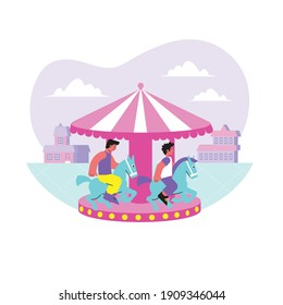 Entertainment center flat composition with happy children enjoying amusement park ride on carousel vector illustration
