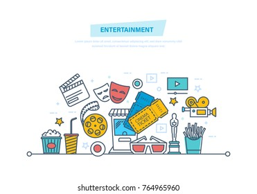 Entertainment, cinema and film, movie theater icons, tickets to cinema, media and film, presentation movies, oscars and awards, fast food. Illustration thin line design of vector doodles.